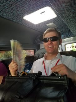 Clayton showing off the fans our mentors gave us, much needed in Moldova's summer